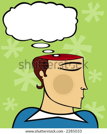 Man's mind is open (literally) and a thought bubble looms above - stock photo
