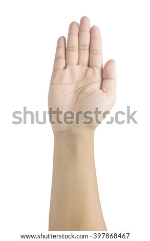 man's open hand isolated on white with clipping path - stock photo