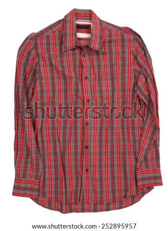 Man's red cotton plaid shirt - stock photo