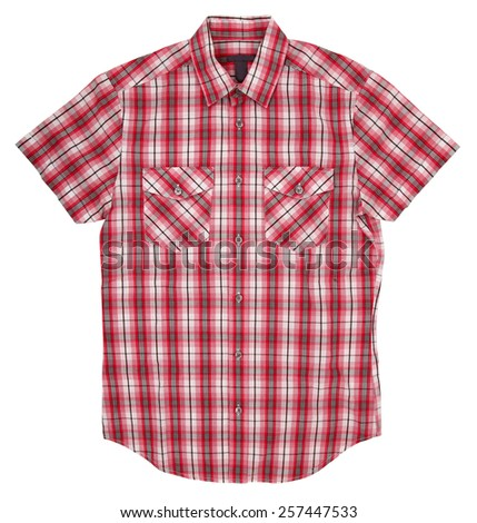 Man's red white cotton plaid shirt - stock photo