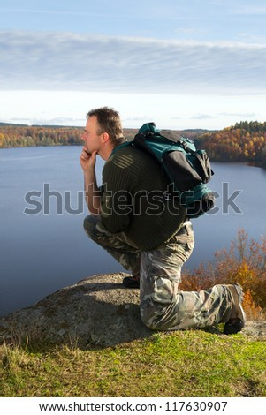 Man's relax under hiking - stock photo