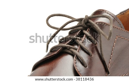 Man's shoes from a brown leather - stock photo
