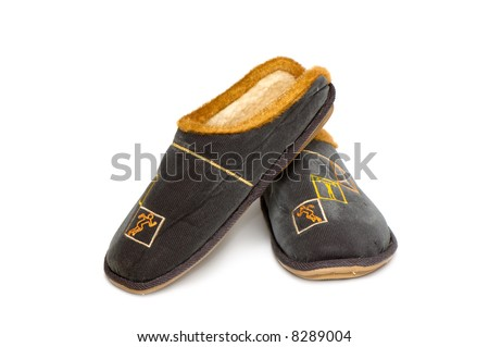 Man's slippers isolated on a white background. - stock photo