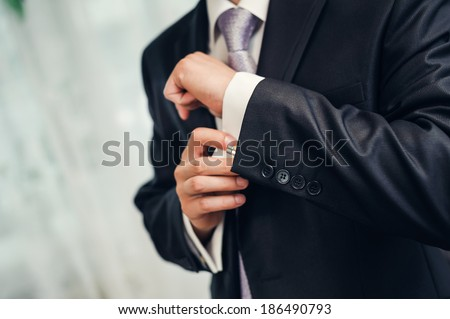 Man's style. dressing suit, shirt and necktie - stock photo