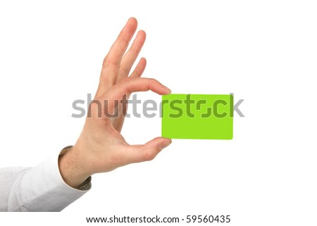 Man's the hand holds a green card on a white background - stock photo