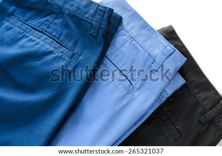 Man's trousers on white background showing  pocket - stock photo