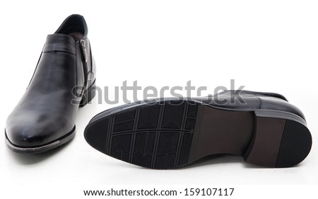Man's winter shoes isolated on white background - stock photo