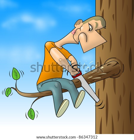 Man sawed branch on which sits - stock photo