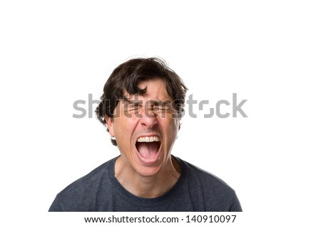 Man Screaming in Pain - stock photo