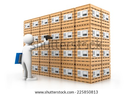 Man sealing the cargo boxes - stock photo