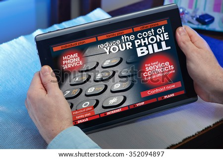 man searching web internet for recruitment phone service on internet with tablet in you home / hands of a man consulting a website of online phone service in the tablet - stock photo