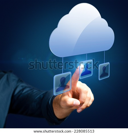 man selecting a person in a cloud network - stock photo
