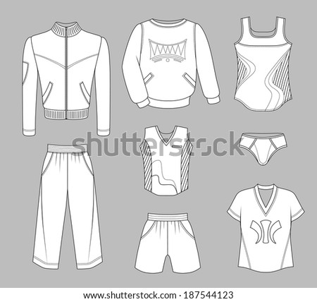 Man set tricot clothes grey isolated on background - stock photo