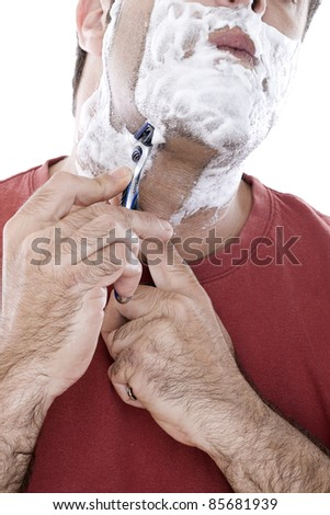 Man Shaving - stock photo