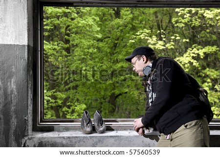 man shoes and window - stock photo
