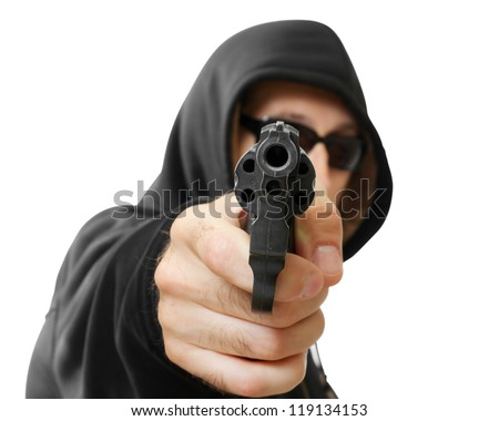 man  shoots a gun, gangster, focus on the gun, isolated on white - stock photo