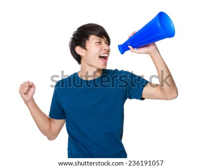 Man shout with loud speaker - stock photo