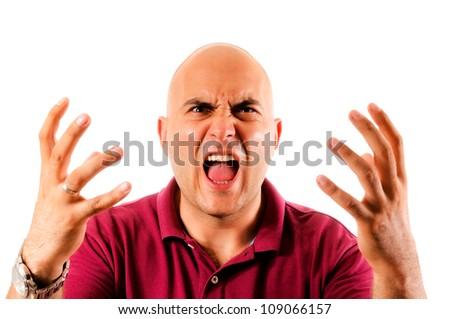 Man shouting isolated on white - stock photo