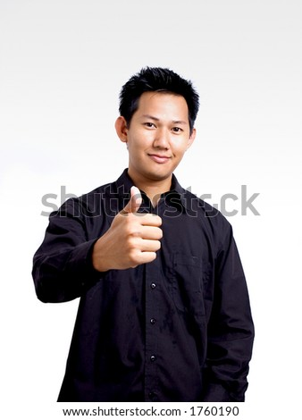 Man showing a good hand sign - stock photo