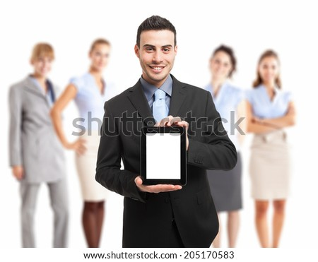 Man showing a tablet pc - stock photo