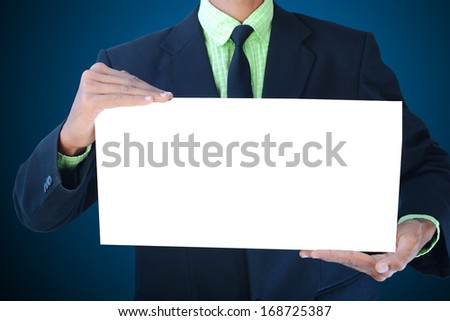 man showing a white paper - stock photo