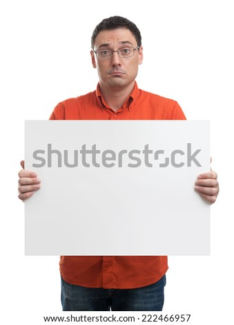 Man showing blank white billboard sign isolated on white - stock photo