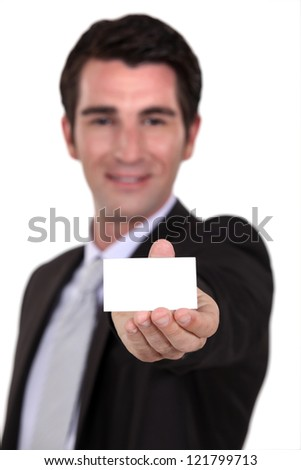 Man showing card - stock photo