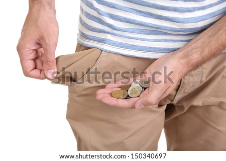Man showing his empty pocket, isolated on white - stock photo