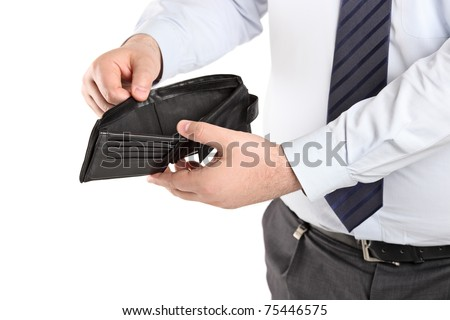 Man showing his empty wallet isolated on white background - stock photo