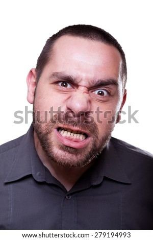 Man showing his mad emotion - stock photo