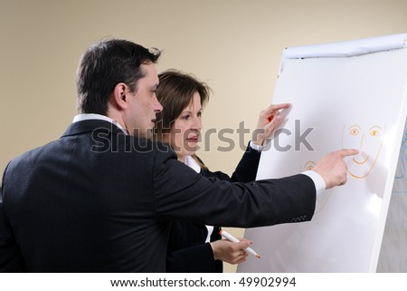 man showing on paper - stock photo