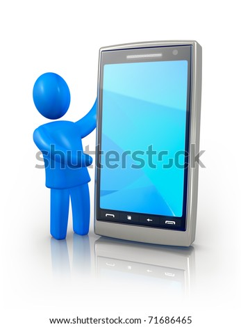 Man showing smart phone screen - stock photo