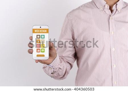 Man showing smartphone Web Design on screen - stock photo