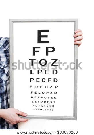 Man showing Snellen eye exam chart on white background - stock photo