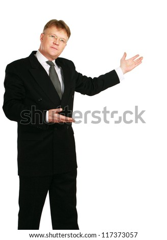 Man showing something on his hand , isolated on white background - stock photo