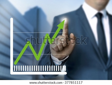 Man showing stock price touchscreen concept. - stock photo