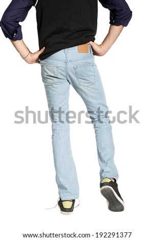 man showing the back of jeans  - stock photo