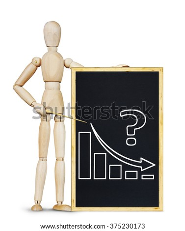 Man shows a graph of decrease. Abstract image with wooden puppet - stock photo