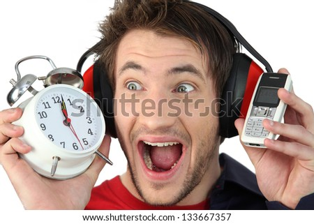 Man shutting out noise - stock photo