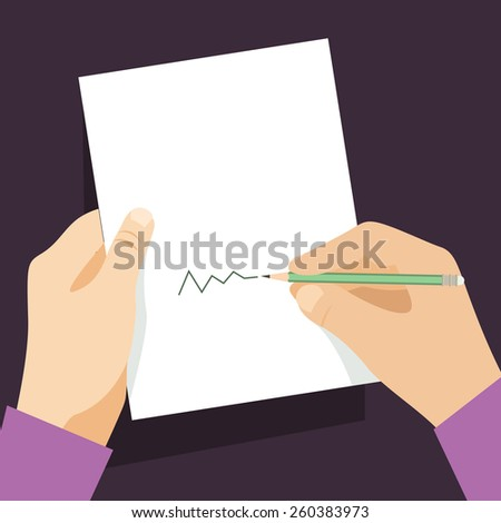 Man signs document  handle puts his signature cartoon flat design style. - stock photo