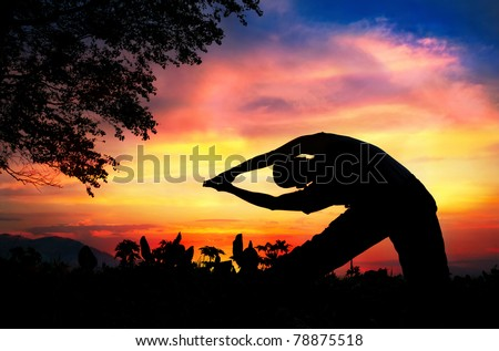Man silhouette doing parighasana beam pose with tree nearby outdoors at sunset background - stock photo
