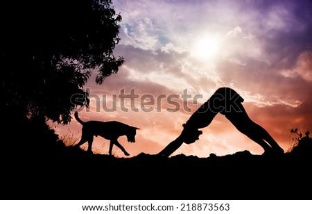 Man silhouette doing yoga with dog nearby in Gokarna, Karnataka, India - stock photo
