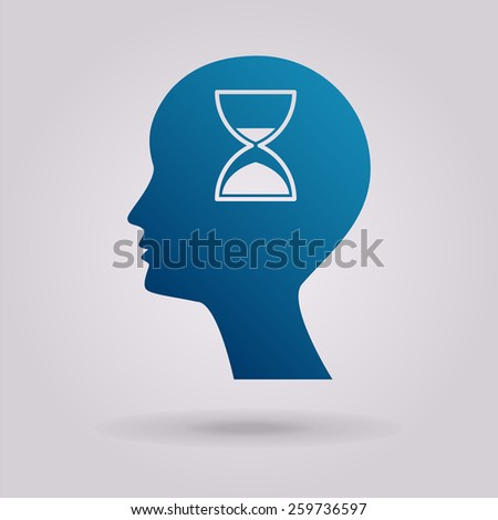 Man silhouette with hourglass. The illustration on gray background - stock photo