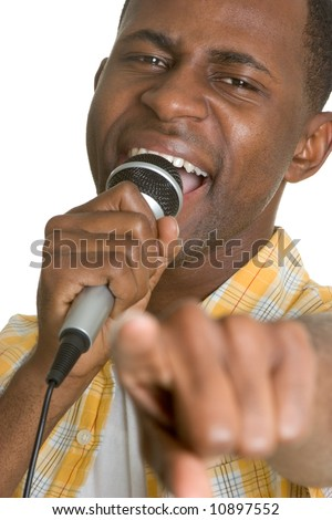 Man Singing Karaoke - stock photo