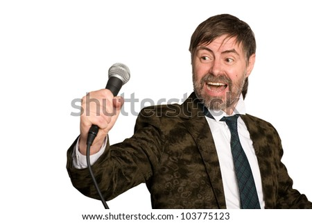Man sings American jazz blues. - stock photo