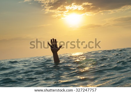 Man sink in water. Element of design. - stock photo