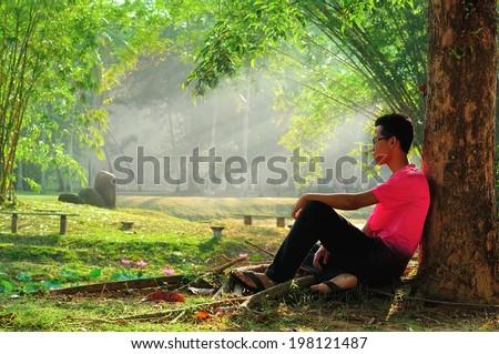 Man sitting alone under tree - stock photo