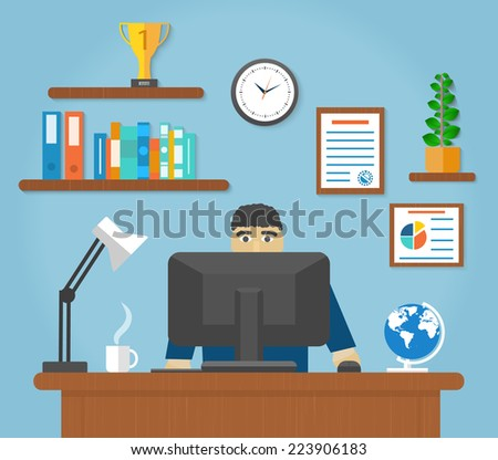 Man sitting on chair at table in front of computer monitor and shining lamp cartoon flat design style. Raster version - stock photo