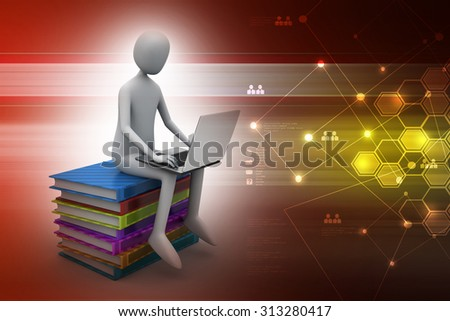Man sitting on top of books while using laptop in color background - stock photo