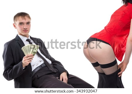 Man sitting with money and woman's ass. Isolated photo of people with white background. - stock photo